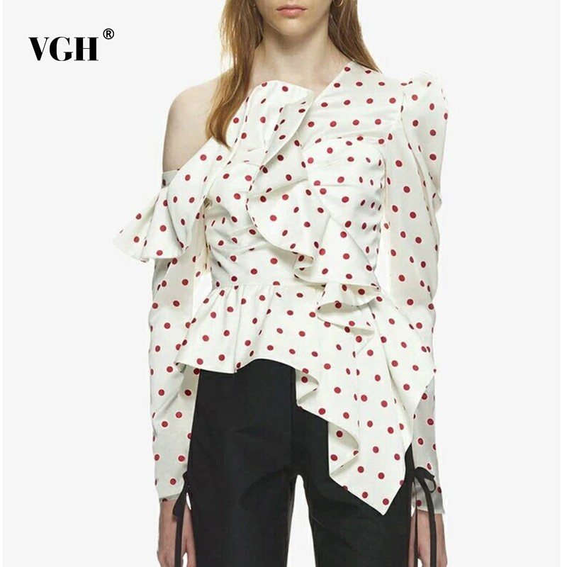 VGH Summer Casual Dot Irregular Shirt Female Off Shoulder Backless Ruffles Patchwork Puff Sleeve Pullover Blouse 2019 Sexy Top