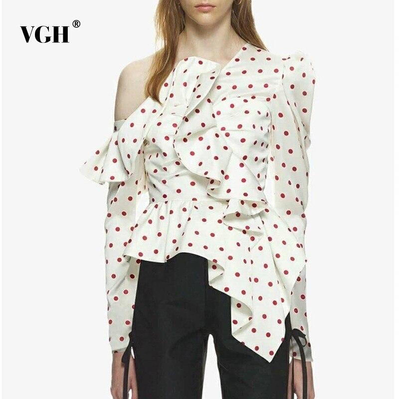 VGH Summer Casual Dot Irregular   Shirt   Female Off Shoulder Backless Ruffles Patchwork Puff Sleeve Pullover   Blouse   2019 Sexy Top