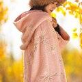 [AIGYPTOS-MIANMA] Wome Vintage Bonito casual com capuz solto x longo bordado de lã de cordeiro Casaco quente Outerwear