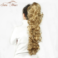 Suri Hair 32 Inch Women Claw On Ponytail Extensions 220g Fake Long Wavy Pony Tail Hair