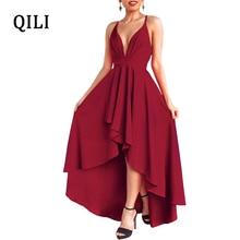 QILI Women Evening Party Dress Boho Style Deep V Neck Rear Back Cross Sexy Dresses Elegant Ladies Asymmetrical Maxi