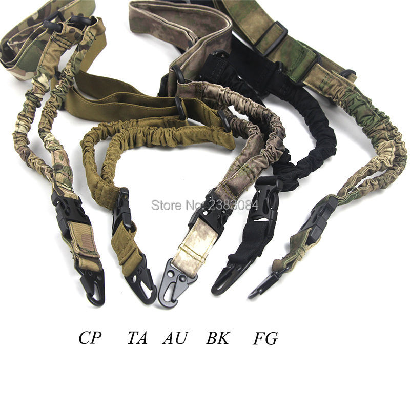 Tactical Hunting Single One Point Rifle Sling Paintball Military Adjustable Bungee Cord Gun Strap System CP AU FG Three Colors