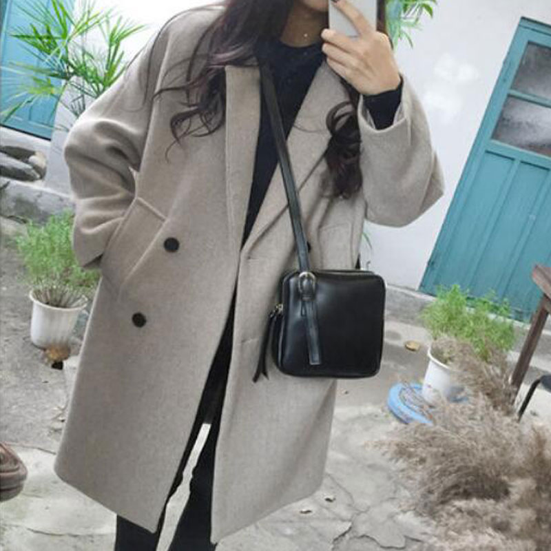 Luzuzi New Thin Wool Blend Coat Women Long Sleeve Turn-down Collar Outwear Jacket Casual Autumn Winter Elegant Overcoat Z5721(Hong Kong,China)