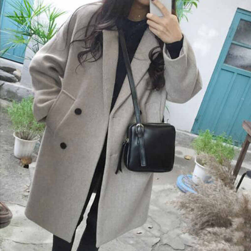Luzuzi New Thin Wool Blend Coat Women Long Sleeve Turn-down Collar Outwear Jacket Casual Autumn Winter Elegant Overcoat Z5721