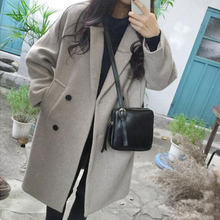 Luzuzi New Thin Wool Blend Coat Women Long Sleeve Turn-down Collar Outwear Jacket Casual Autumn Winter Elegant Overcoat Z5721(Hong Kong,China)