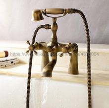 купить Antique Brass Bathroom Tub Faucet Telephone Style Bathroom Bathtub Deck Mounted With Handshower Swive Tub Spout Ntf018 дешево