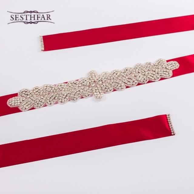 New Fashion Handmade Noble crystal Bridal Ribbon belts White red Ivory Ribbon girdle for Women Wedding Dress Accessories