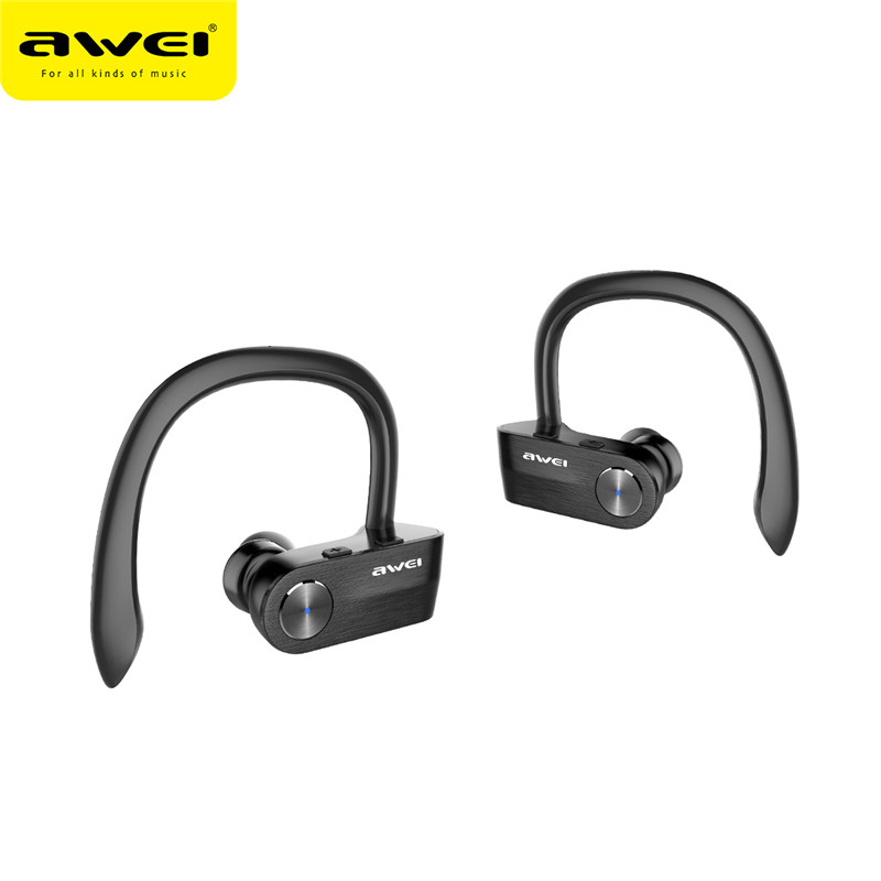 Original Awei T2 TWS Sports Ear Hook Bluetooth Earphones Wireless Waterproof Mini Separate Dual Earbuds Stereo Earphones Newest awei t1 wireless bluetooth earbuds black