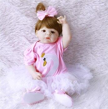 dollmai Silicone Reborn Baby Menina Alive 23'' Newborn Baby Dolls Full Vinyl body Wear bebe Infant Clothes Truly Kids Playmate