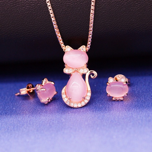brixini.com - Pink & Rose Gold Color Cat Earrings and Necklace