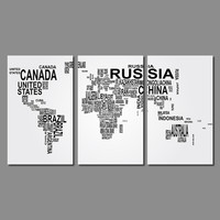 Modern Fashion Living Room Decoration Black White Letter World Map Canvas Painting Printed Wall Hanging Home