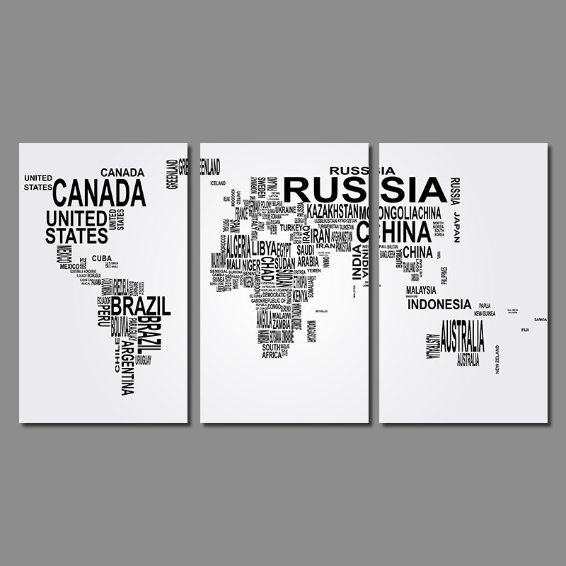 Modern Fashion Living Room Decoration Black White Letter World Map Canvas Painting Printed Wall Art Pictures Home Decor Unframed In Calligraphy