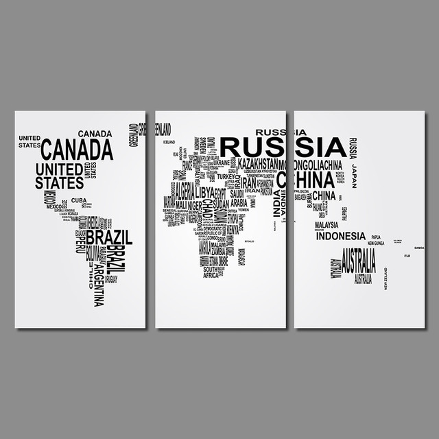 Modern fashion living room decoration black white letter world map modern fashion living room decoration black white letter world map canvas painting printed wall art pictures gumiabroncs Gallery