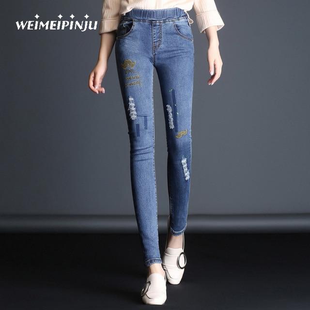 25eea463835 Nuevas mujeres Vaqueros agujeros rasgados lápiz pantalones Bordado casual  Denim roto Vaqueros femenino elástico de alta