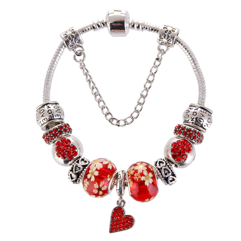 High Quality Red crystal Heart Pendant Noble Pretty Charm Bracelet Pandora Bracelet For Women/Gril gift jewelry Drop Shipping
