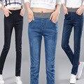 2016 Rushed Cotton Medium Mid Plaid Boyfriend Jeans For Women New Elastic Waist Jeans Stretch Denim Pants Female