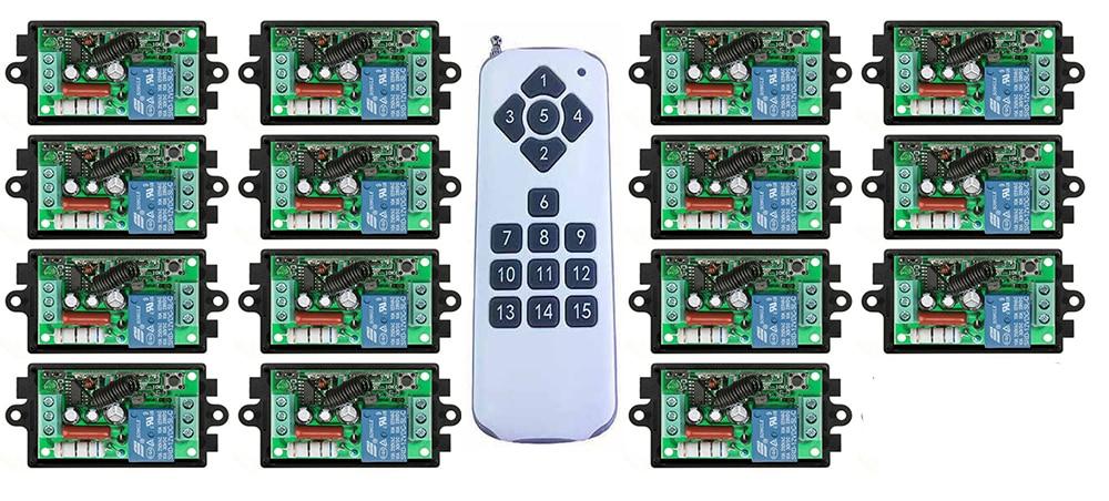 купить 1000M Long Range AC220V 1CH Radio Controller RF Wireless Remote Control Switch Transmitter+15*Receiver lamp/garage door/shutters по цене 3450.83 рублей