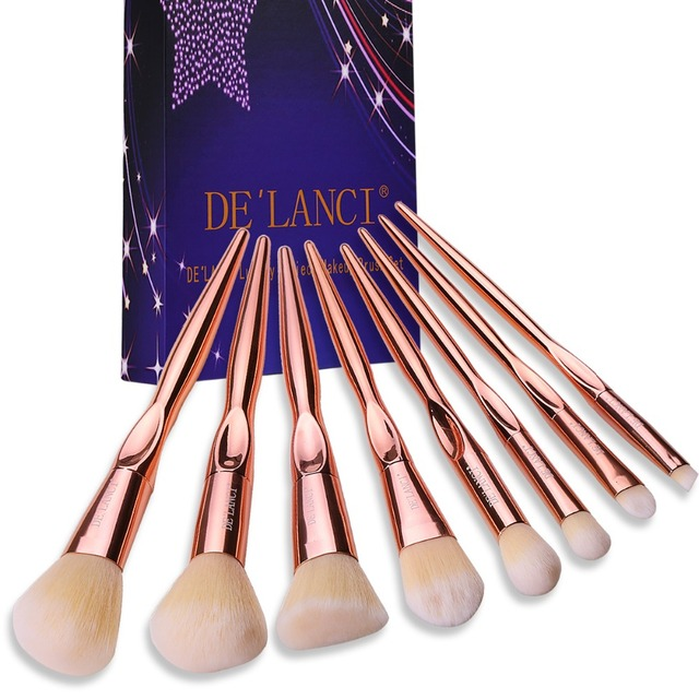 DE'LANCI 8PCS Professional Makeup Brushes Foundation Blush Powder Concealer Eyeshadow Brush Beauty Tools Rose Gold Handle