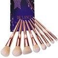 De'lanci 8 pcs pincéis de maquiagem profissional fundação blush em pó corretivo eyeshadow escova ferramentas de beleza rosa de ouro punho