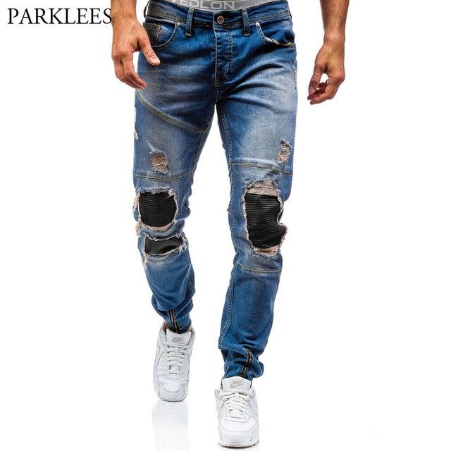New Marque Blue Skinny Hommes 2017 Jeans Déchirés jUzMSpLqVG