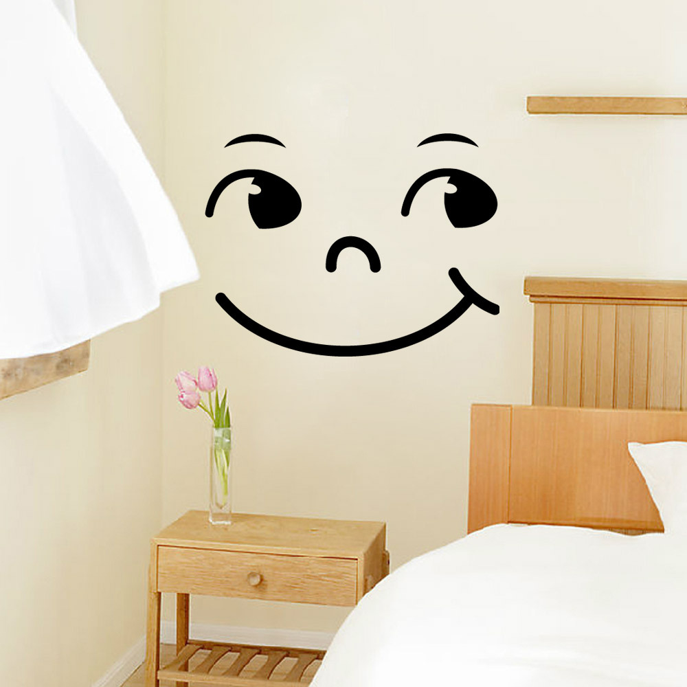 Smiley Face Carved PVC Wall Sticker Home Decor Wardrobe Refrigerator Cabinet Stove Art Mural Poster Self-adhesive DIY Wallpaper