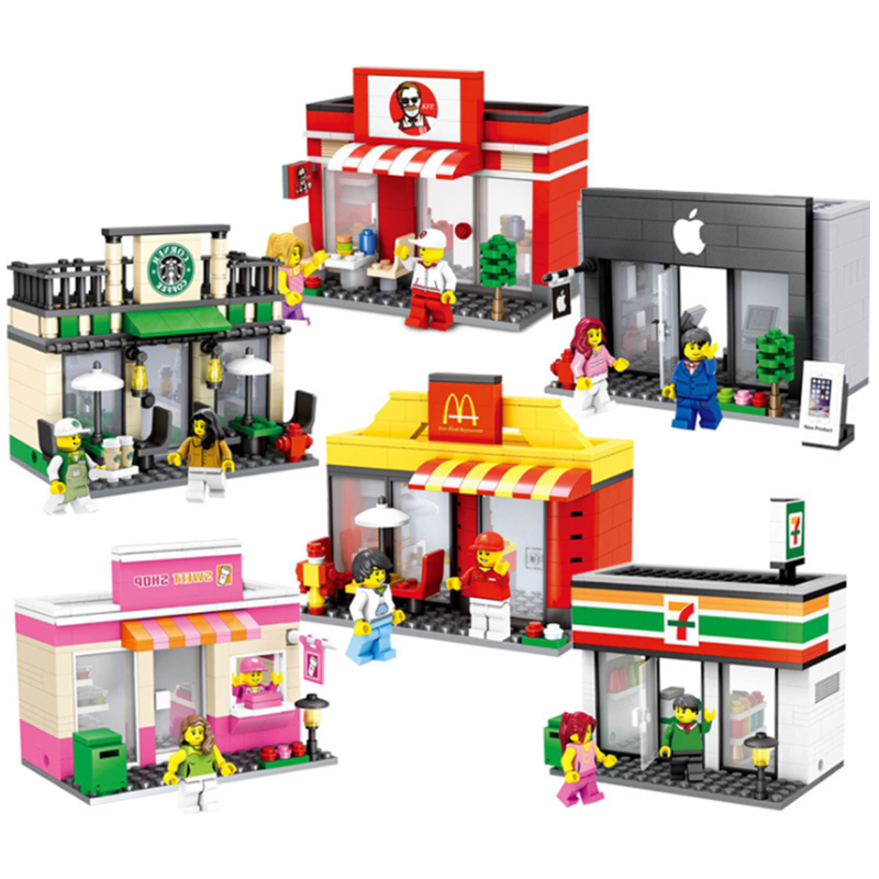 Hot Sale City Series Mini Street Model Store Shop with McDonald`s Coffee Apple house Building Blocks Toys Hotsale Compatible 283pcs starbucks coffee shop model building blocks street view shop manager figures compatible legoed city educational toys kids