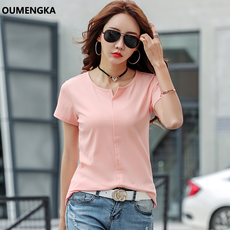 OUMENGKA Basic T Shirt Women New T-shirts Women 2019 Vogue Vintage Tshirts Cotton Women Casual O-Neck Short Sleeve Tops S-4XL
