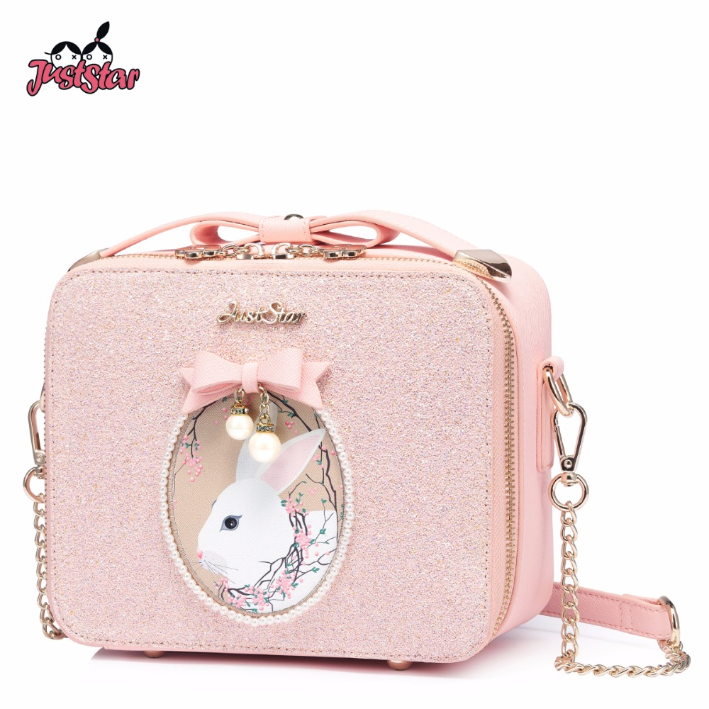 JUST STAR Women s PU Leather Messenger Bag Ladies Cartoon Rabbit Printing Shoulder Purse Female Chains