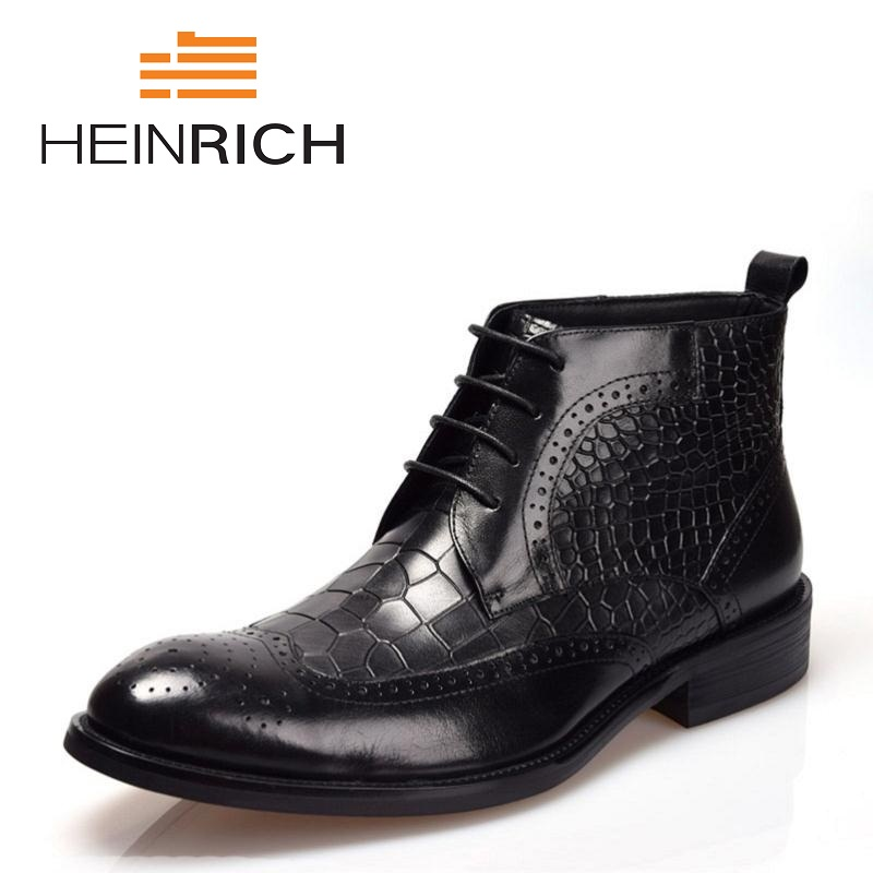 HEINRICH Mens Shoes Lace Up Ankle Boot Platform Men Pointed Toe Motorcycle Winter Man Black Color Chelsea Boots Bota MasculinoHEINRICH Mens Shoes Lace Up Ankle Boot Platform Men Pointed Toe Motorcycle Winter Man Black Color Chelsea Boots Bota Masculino