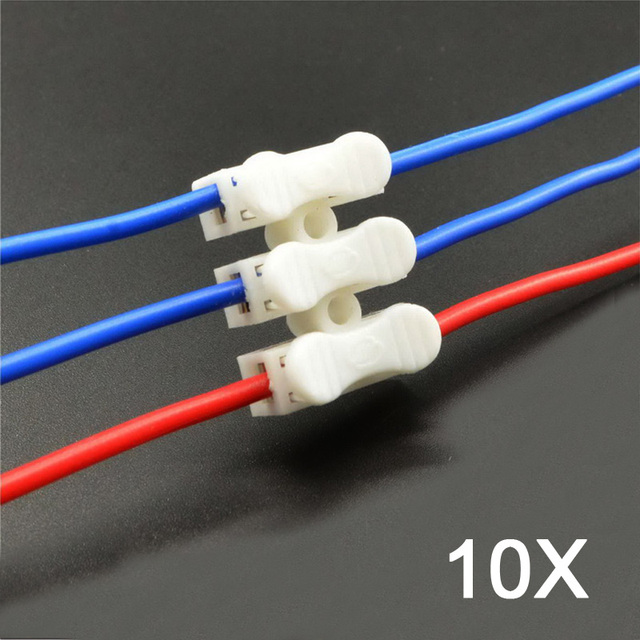10pcs CH 3 Wire Connector Terminal Block Connector Row Column Push Butt LED  Lamps For