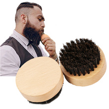 Facial Hair100% Black BOAR BRISTLE Mens Boar Hair Bristle Hard Round Wood Handle Beard Mustache Brush Set Face Massage