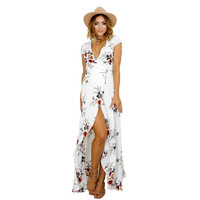 Hot Style Women Summer Dress 2017 New Printed V Neck Flower Print Dress Sexy Split Beach