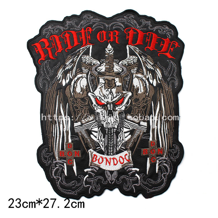 Large Skull RIDE OR DIE Embroidery Patches Motorcycle Biker for Jacket Back 23cm * 27.2 cm 10.7 inches PU leather