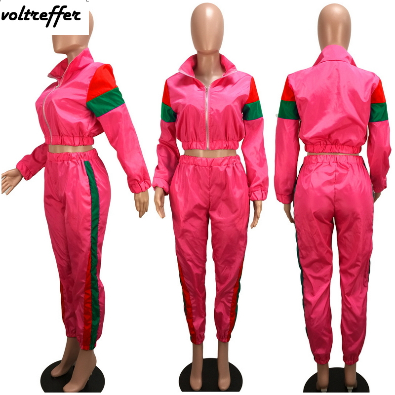 2019 Spring Patchwork Two Piece Set Loose Crop Top Cardigan Palazzo Pants Sweat Suit Casual Outfits Sexy Matching Sets Tracksuit
