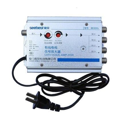 2016 new seebest 1 em 4 out 4 way CATV TV a cabo amplificador de sinal de ganho de 30db RF sinal amplifie amplificador de sinal de Antena para TV