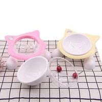 @HE Dog Cat Bowls New Pet Cat Shape Feeding Water Bowl Non slip Puppy Outdoor Food Dish Fixed Pet Toe Plate Dish Rack