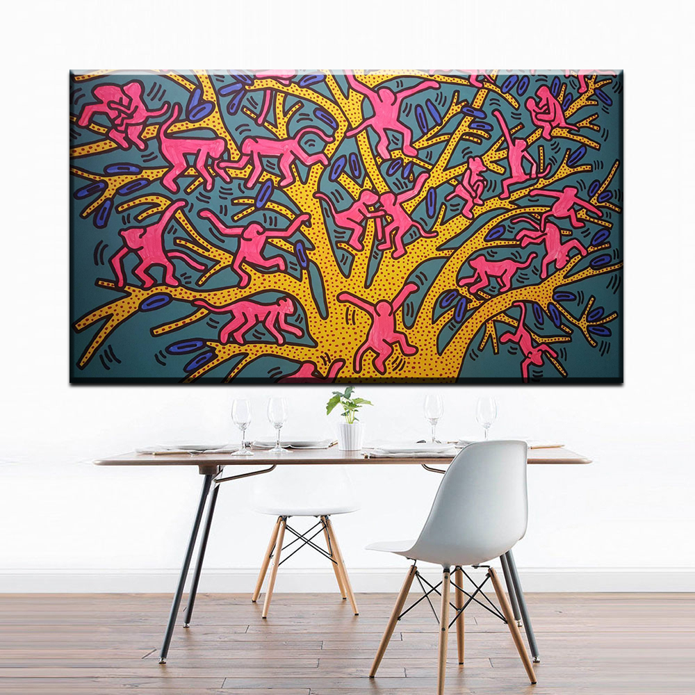 Keith Haring Pop Canvas Painting Diy Frame Art Posters Print Canvas