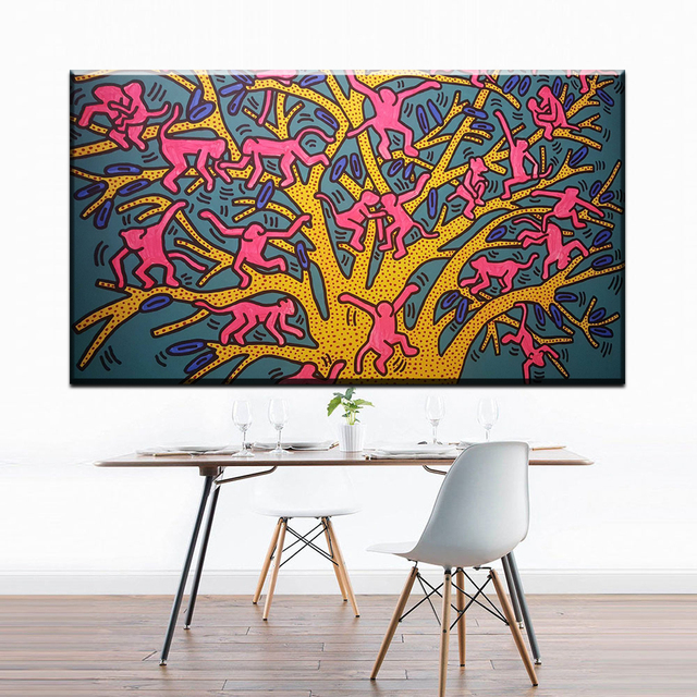 Keith haring pop canvas painting diy frame art posters print canvas art prints 24x48 inch wall