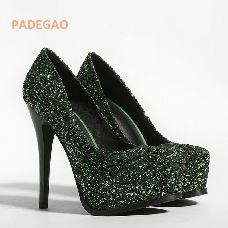 PADEGAO Summer shoe for woman platform Glitter high heels square toe  sequined cloth slip on pumps Stilettos wedding-in Women s Pumps from Shoes  on ... d0e20bfdb7e8