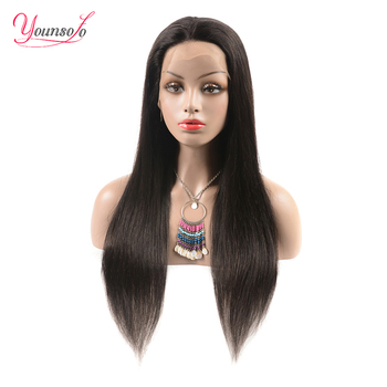 Younsolo Lace Front Human Hair Wigs Straight Pre Plucked Baby Hair Lace Frontal Wig Brazilian Remy Natural Color