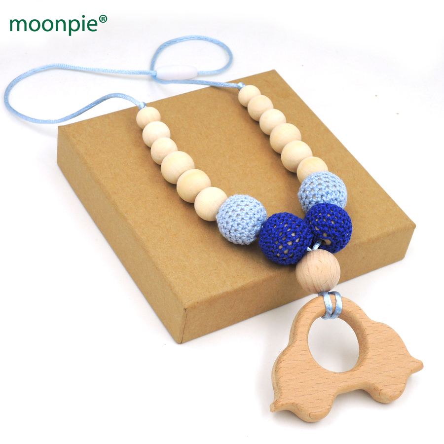 Crochet Necklace Fade Blue Beech Car Wooden Charm Baby Boy Gift En28 Drip-Dry Collection Here Mommy Organic Teething Bead Necklace Nursing Necklace Dental Care