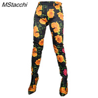 MStacchi 2019 New Spring Leopard Pants Shoes Tight High Party Dancing Shoes Woman Custom Material Snake Pants Boots High Quality