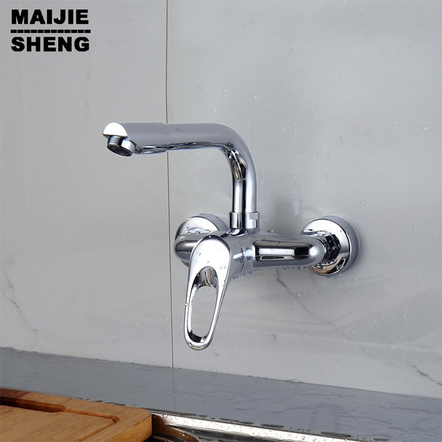 Delightful Wall Mounted Kitchen Sink Faucet With Flexible Shapable Tube, Single Handle  2 Holes Mounted Sink