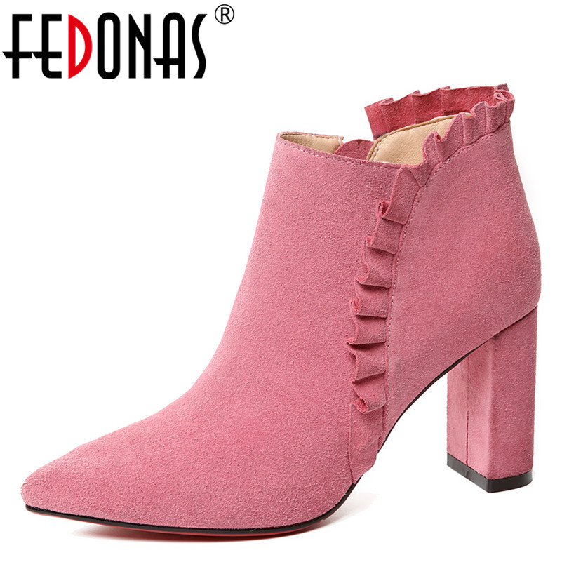FEDONAS 1New Arrival Women Ankle Boots Autumn Winter Warm Cow Suede High Heels Shoes Woman Zipper Ruffles Elegant Basic Boots