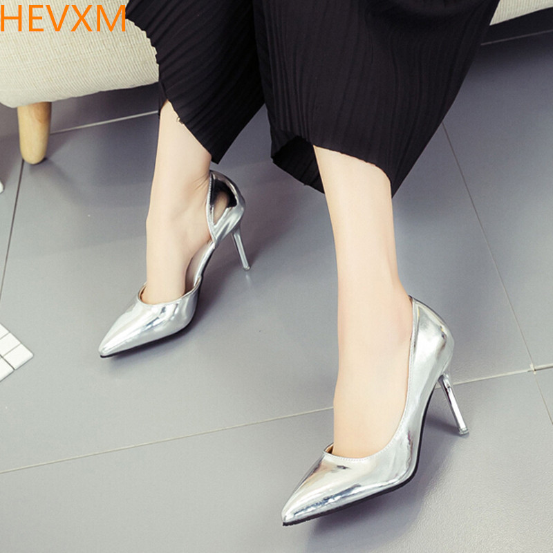 HEVXM Summer new ladies fashion with side empty patent leather shallow mouth high heels woman wild sexy OL high-heeled shoes 2016 summer new leather tendon at the bottom side of the empty fish head crude rainbow low heeled shoes women xtf039