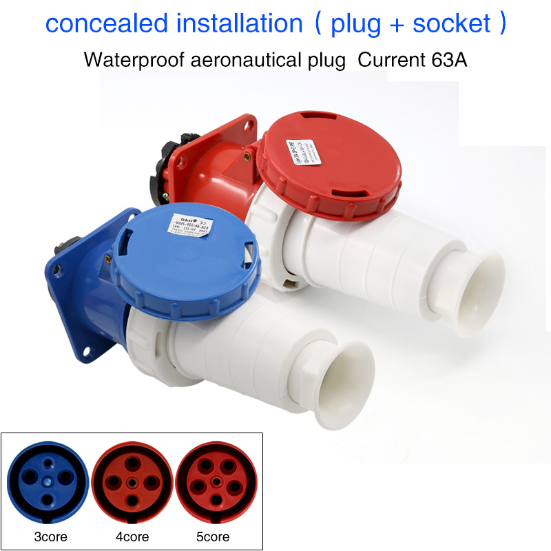Waterproof industrial plug socket 3core 4core 5core hole 63A connector darkly installed aviation socket 63a 125a 220v 240v industrial electrical socket plug wall mounted splash proof socket for single phase three wire