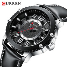 CURREN Black Mens Watches Genuine Leather Waterproof Man Business Quartz Sports Watch Military Male Clock Relogio Masculino Gift