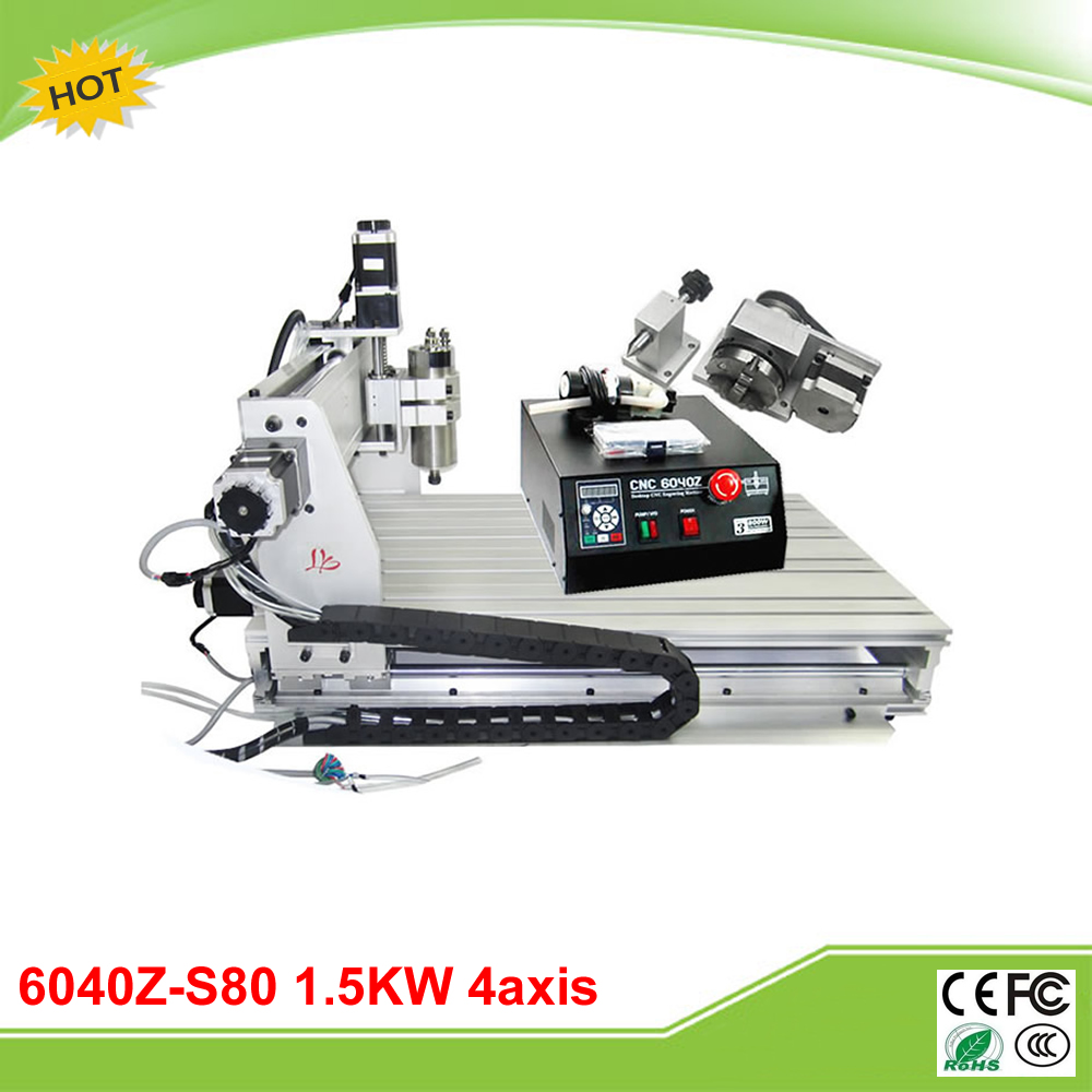 6040Z-S80 4 axis mini CNC milling lathe machine with rotary axis and 1.5KW spindle for metal/3D cnc 5axis a aixs rotary axis t chuck type for cnc router cnc milling machine best quality