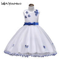 KEAIYOUHUO Girls Summer Floral Dress Princess Lace Butterfly Applique Girl Dresses For Wedding 2 15 Years