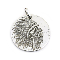 LINSION 999 Sterling Silver Indian Chief Skull Mens Biker Punk Pendant 9X301 Just Pendant